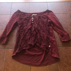 Maroon lace shirt